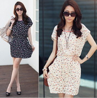Free Shipping 2013 new style cute flower print women chiffon dresses short sleeve O-neck dress for femal in summer,autumn,spring