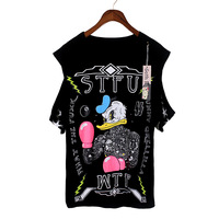 Single HARAJUKU donald duck hiphop five-pointed star strapless t-shirt short-sleeve bf