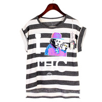Yubsshop HARAJUKU neon color block stripe sleeveless zipper T-shirt bf