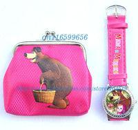 New! Free shipping Mashabear Masha & bear watches and wallet sets Toy Wholesale 12pcs