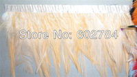 "Free Shipping 10meters Height 4-6"" (8-15cm)  light orange Rooster Hackle Feather Rooster Feather tail Trimming Fringe"