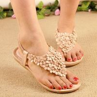 Free shopping Bohemia sandals flip women's shoes leuconostoc flip-flop sandals flower low-heeled wedges