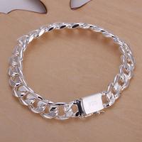 most hotest sale 10MM square buckle sideways lines hand, men's jewelry silver bracelet, popular bracelets LKNSPCH032