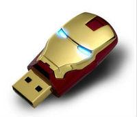 Hot sale Fashion Avengers Iron Man LED Flash 8GB 16GB 32GB USB Flash 2.0 Memory Drive Stick Pen/Thumb/Car