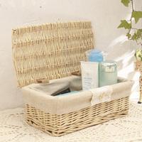 New Arrival Willow small storage box single zakka storage rattan basket with lid desktop storage