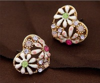 2013 Fashion jewelry,Rhinesrtone stud earrings for women,Oil drop flower stud earrings,Gold plated heart stud earrings E477