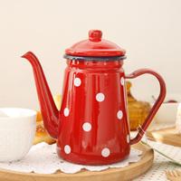New Arrival Dot polka dot enamel teapot coffee pot water bottle zakka export