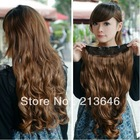Nowy moda damska Akcesoria Dziewczyna Długi Falista Curly Hairpiece syntetyczny 5 Klipy Onepiece W Hair Extensions 5 kolorów U-pick 22