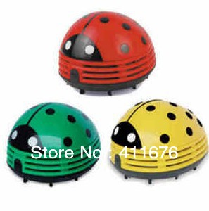 Free Shipping! Mini Ladybug Vacuum Cleaner Desktop Coffee Table Vacuum Cleaner Dust Collector For Home Office Car, 6pcs/lot