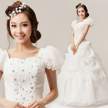 2013 slit neckline wedding dress diamond princess puff sleeve ruffle wedding dress sweet