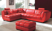 Classic european style  Cattle Leather Passion red corner Sofa with ottoman living room furniture sets LC9103