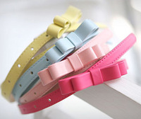 CCD032 Sweety Bow Belt for Women Candy Color Leather Ladies' Slim Belt Double Bowknot Belt Buckle