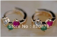 ALLURING!NATURAL RED RUBY GREEN EMERALD & WHITE CZ 9K Solid GOLD HOOK EARRING