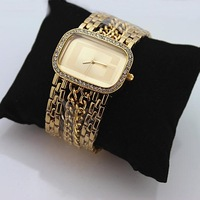 top brand women's luxury rhinestone bracelet watch with rectangle dial golden silver ,freeshipping gift box
