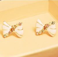 2013 Fashion jewelry,Artificial crystal round stud earrings for women,Oil drop bowknot stud earrings gold plated E376