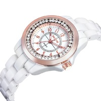 The spatiotemporal ceramic watch black and white jelly rhinestone gentlewomen student table women's table