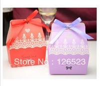 200 pcs/lot Popular Model Wedding Candy Box Purple / Pink / Blue / Rose / Orange Favor Box Free Shipping