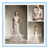 Sexy Strapless Lace Free Jacket Latest Wedding Gown Designs(WDS-1029)