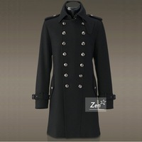 World war ii overcoat men's medium-long trench wool content