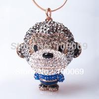 Kavnar Jewelry Fashion Pendant Necklace High Quality Full Rhinestone Monkey Necklace Free Shipping N1613