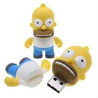 Wholesale Fashion Cute Cartoon Simpsons Homer 4GB USB LED Flash 2.0 Memory Drive Stick Pen/Thumb/Car free Ub261