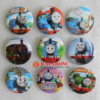 Free Shipping Wholesale Photo Color/Novelty Cartoon Backpack Accessories/Train Thomas Badges/Kid Gift Pin Badge 3cm 48pcs/lot
