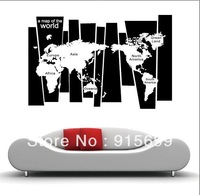 A Map Of The World Removable Vinyl Quote Home Art Wall Sticker Decal Mural Decor [Top-Me]-8120