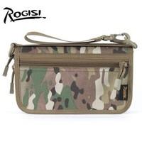 ROGISI YKK Cordura Outdoor camping handbag men women army  camouflage Color:CP/ACU/Black/Wolf brown/Khaki Size:22.5*5.5*13CM