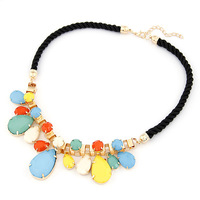 Fashion fashion metal mix match size drop gem elegant preparation of rope short design necklace