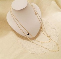 2012 pearl small flower four leaf grass necklace female long chain necklace