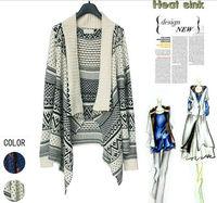 Free Shipping Geometry Design Printed Knitted Sweater Women Fashion Warm Loose Casual Cardigan Knitwear