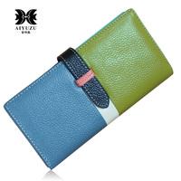 2013 New Fashion Women's Unique Candy Color Genuine Cowhide Leather Wallet 5 Color Patchwork Long Design Lady Wallet Clutches