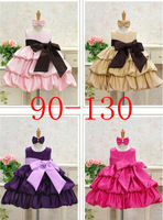 retail FREE SHIPPING,NEW,2013 children dress 1pcs/lot girls High-grade Princess dress Big bowknot dresse for summer red pink