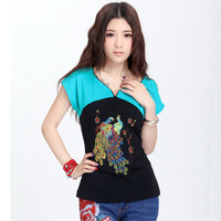 2013 New Arrival New Fashion Women Cotton T-shirt Novelty National Vintage Style Embroidery  Tshirts 3 Colors 9191Free Shipping
