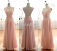 Wholesale - Blush Pink Chiffon Wedding Dress Homecoming Dress Spaghetti Strap