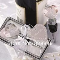 wedding favor--chrome bottle stopper with heart shaped crystal design