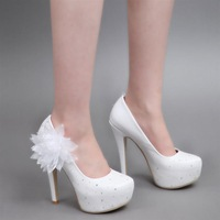 2013 elegant white flower stiletto high-heeled shoes single with women's shoes bride wedding shoes banquet women's shoes