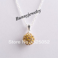 "Min.order is $10 Free Shipping! 10mm Shamballa Disco Pave Crystal Ball Pendant Light Gold + Necklace 18"" For Gift"