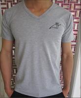 2013 men's  sports grey v-neck  short-sleeve summer plus size
