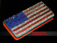 Free Shpping! Bling Sparkling Crystal US Flag Fashion Cowhide Bag for Woman Designed for Party