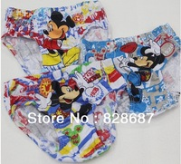 Children boy underpants, cartoon design, pure cotton material, infants, children, mickey underpants,3 PCS = 1 lot, free shipping