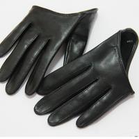free shipping N thin sheepskin genuine leather gloves fashion personality half glove