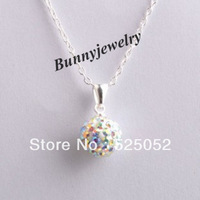 Min.order is $10 Free Shipping Shamballa Jewelry AB White Micro Pave CZ Disco Ball Shamballa Necklace For Girl
