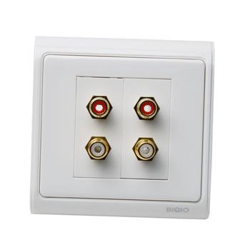 Biqio n86-2610 lotus dual port panel audio socket stereo rca socket