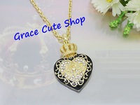Free Shipping Black Heart Pendant Necklace Fashion Jewelry Gold/Silver Plating Top Quality (Dust Bag,Gift Box) #JCN083