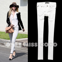 famous brand summer ol all-match butt-lifting white slim straight jeans