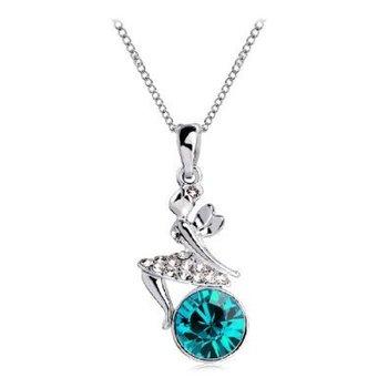 Fashion Full Austrian Crystal Rhinestone Angel Fairy Design Pendant Chain Necklace