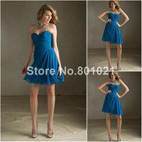 Top Sale Sweetheart Style 204160 Luxe Mini Short Chiffon Peacock designer bridesmaid dresses