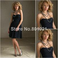 A-line Sweetheart Mini Length Style 204140 Luxe Chiffon Black bridesmaid dresses cheap
