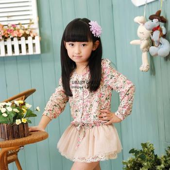2014 new autumn korean baby long sleeve little girls floral mini dress children gored lovely bandage girl dress